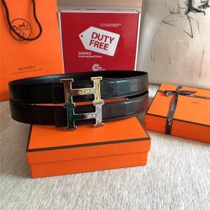 Hermes Men's H Touareg Belt Buckle & Crocodile Leather Belt 38mm
