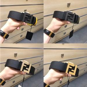 FENDI men's palm pattern cowhide frosted matt double FF buckle belt