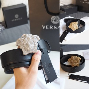 Versace Men's Full Rhinestone Medusa Buckle 4.0CM Belt