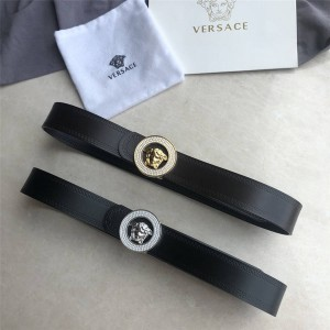 Versace new round Medusa diamond buckle 3.8CM belt