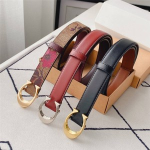 coach women's belt new double-sided leather C buckle 3CM belt