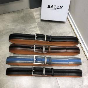 BALLY men's ASTOR leather stitching striped 3.5CM belt