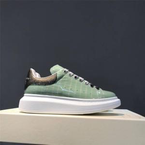 alexander mcqueen crocodile-embossed high-heeled lace-up sneakers