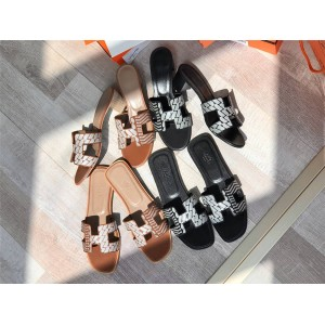 Hermes official website new embroidered Oran slippers Oasis sandals