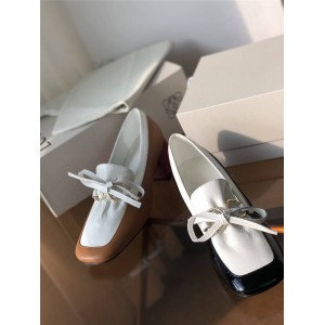 LOEWE women's shoes color matching bow thick heel loafers