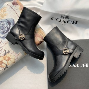 coach new women's boots leather carriage metal buckle ankle boots