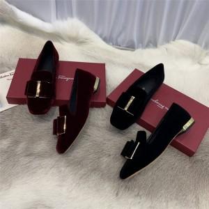 Ferragamo women's shoes velvet double bow slippers single shoes 733784