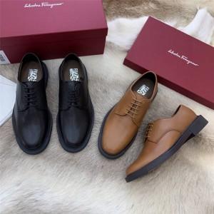 Ferragamo men's grained leather lace-up platform business shoes