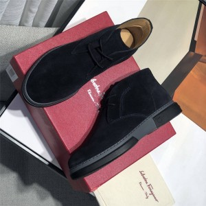 Ferragamo new high-top men's shoes suede frosted short boots