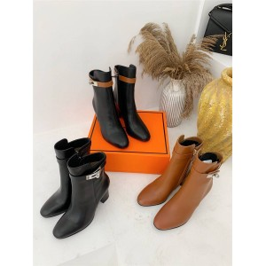 Hermes leather Kelly buckle Neo ankle boots mid-barrel boots