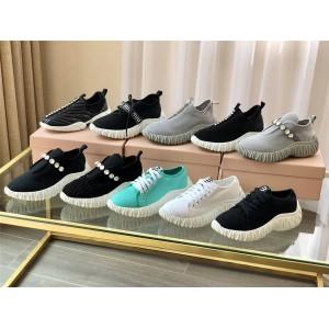 MIUMIU Nova series crystal-like cotton stretch-knit gabardine sneakers