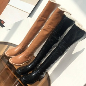 Celine FOLCO Butter, Leather and Wool High Over the Knee Boots