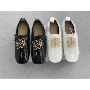 LOEWE Metal LOGO Patent Leather Round Toe Derby Ballet Shoes