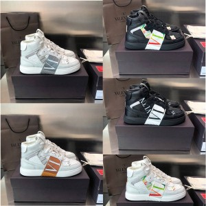VALENTINO Couple VL7N calfskin strap high-top sneakers