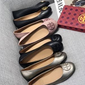 tory burch TB women's shoes big LOGO round toe ballet flats