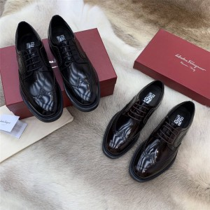 Ferragamo DONEGAL thick bottom brogue carved lace-up men's leather shoes