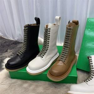 Bottega Veneta BV women's boots leather mid-tube lace-up Martin boots