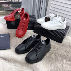 Zegna new men's litchi pattern leather TRIPLE STITCH sneakers