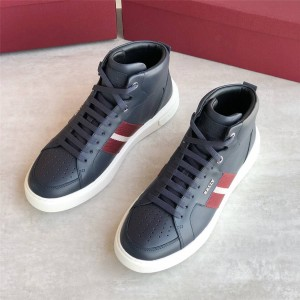 BALLY men's shoes new leather perforated webbing high-top sneakers