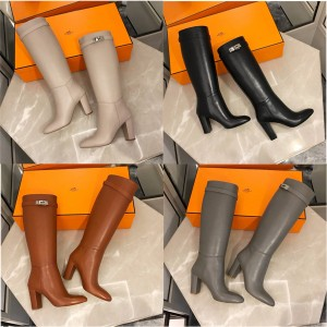 Hermes shoes new leather mid-tube Story boots