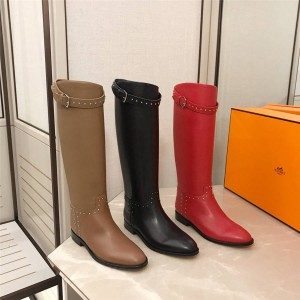 Hermes official website new women's boots rivet Jumping boots