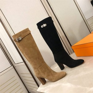 Hermes official website new suede mid-tube Story boots