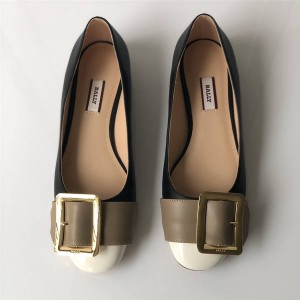 BALLY ladies Janelle buckle flat shoes single shoes
