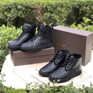 Bottega Veneta BV new fur woven leather high-top shoes