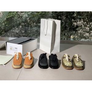 Loewe women's shoes square toe bow tie mueller half slippers