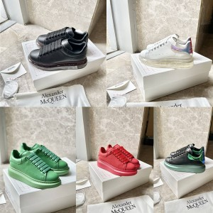 Alexander McQueen official couple shoes leather cushion sneakers