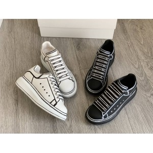 Alexander McQueen couple graffiti small white shoes sneakers