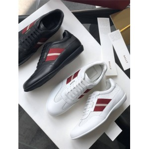BALLY official website men's leather cutout Hallwil sneakers