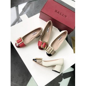 BALLY official website ladies Janelle buckle thick heel shoes