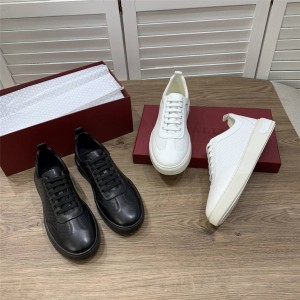BALLY official website men's leather perforated casual sneakers