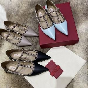 VALENTINO women's shoes Rockstud calfskin lace-up ballet rivet flats