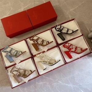 VALENTINO women's shoes ROCKSTUD classic rivet mid-heel high-heel sandals