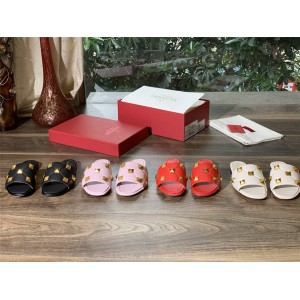VALENTINO Roman Stud quilted sheep leather slippers flat sandals