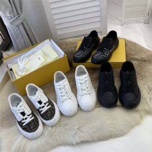 FENDI FORCE white fabric and leather low-top sneakers 8E8109
