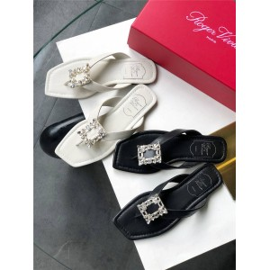 Roger Vivier RV women's shoes new diamond buckle leather slippers