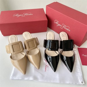 Roger Vivier RV women's shoes new style buckle patent leather mules