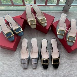Roger Vivier RV women's patent leather square buckle block heel sandals