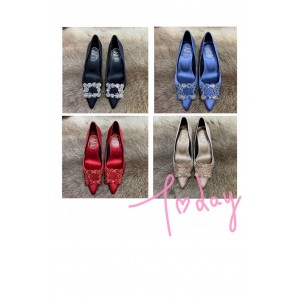 Roger Vivier RV women's shoes Flower Strass silk satin high heels