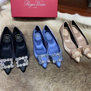Roger Vivier RV women's shoes new Flower Strass silk satin flat shoes