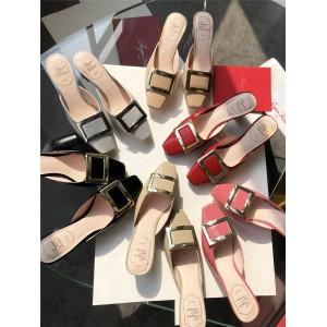 Roger Vivier RV square buckle block heel flat sandals slippers