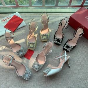 Roger Vivier RV Flower Strass diamond buckle silk satin sandals