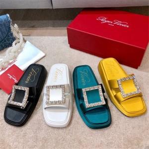 Roger Vivier RV women's shoes Vivier diamond buckle silk satin sandals