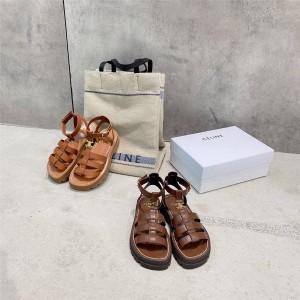 Celine women's shoes CLEA TRIOMPHE block heel Roman sandals