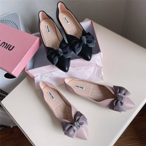 MIUMIU women's leather pointed toe bow single shoes flat shoes