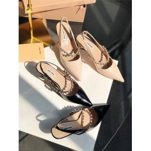 MIUMIU patent leather back strap high heel sandals 5I006C