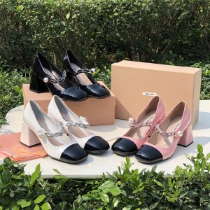 MIUMIU official website chain pearl NAPLAK leather high heels